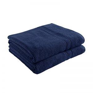 Decolicious - Lot de 2 serviettes de toilette (draps de bain) 100% coton peigné - 550gr/m² - Bleu - 100x150 cm de la marque DECOLICIOUS image 0 produit