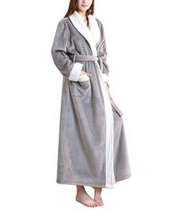DianShaoA Peignoir Unisexe Femme Homme Velours Robe De Chambre Polaire Chaud Long Flanelle Peignoirs De Bain Eponge Longue de la marque DianShaoA image 0 produit