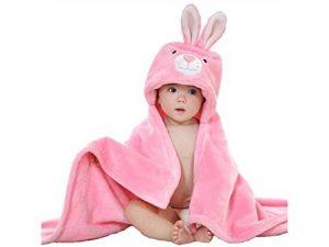 Doux et confortable Bébé Cartoon Lapin couvertures de serviette à capuchon Lovely Animal Cape peignoir nouveau-né Cape (rose) Serviette Super Absorbante de la marque Fushenr image 0 produit
