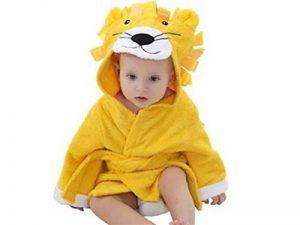 Doux et confortable Serviette de bain bébé Cartoon Lion enfants peignoir cape nouveau-né à capuchon (jaune) Serviette Super Absorbante de la marque Fushenr image 0 produit
