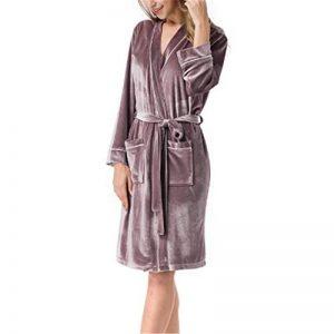 DUJUN Kimono Peignoir de Bain Légère col V Pyjama pour l'hôtel Spa Sauna Vêtements de Nuit,Couple Masculin et féminin d'ambiance Haut de Gamme Velours doré Velours doré Violet L de la marque DUJUN image 0 produit
