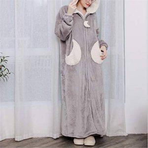 DUJUN Kimono Peignoir de Bain Légère col V Pyjama pour l'hôtel Spa Sauna Vêtements de Nuit,Epaississement de Corail et Longue Section en Flanelle Grande Taille avec Capuche A-5 L de la marque DUJUN image 0 produit
