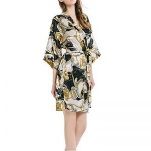 DUJUN Peignoir Satin Robe Chambre Kimono Femme Sortie de Bain Nuisette Déshabillé Nuit Satin Peignoir Robes de Mariée,Chaîne Naturelle Simple, Service à Domicile Confortable de la marque DUJUN image 0 produit