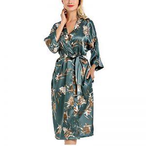 DUJUN Peignoir Satin Robe Chambre Kimono Femme Sortie de Bain Nuisette Déshabillé Nuit Satin Peignoir Robes de Mariée,Peignoir Sexy en Dentelle de Coton pour Femmes de la marque DUJUN image 0 produit
