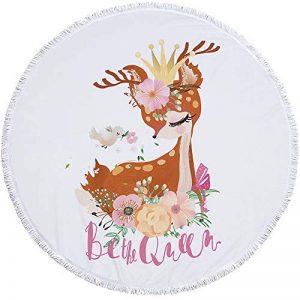 DYY DYYServiette de Bain Ronde imprimée en Microfibre et Pompon Main Douce et Ravissante modèle Animalier A_19 150x150cm de la marque DYY image 0 produit