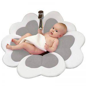 Edith qi Baby Bathtub,Siège de Bain Bébé,Nouveau coussin de tapis de bain de fleur,Bébé évier baignade,Beau cadeau de bébé pour le baptême de nouveau-né,Fête d'anniversaire (0-6 mois bébé) (gris) de la marque Edith qi image 0 produit