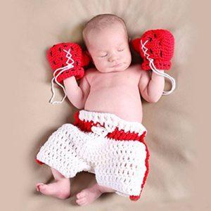 ENCOCO BéBé Boxer Gants Photographie Props Nouveau-Né SéAnce Photo Tenues Crochet Costume Infant GarçOn Fille Tricoté Gant De Boxe Couche Ensemble de la marque ENCOCO image 0 produit