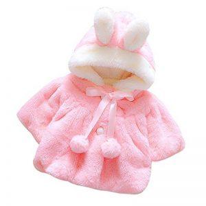 Enfant Bébé Fille 3D Oreilles de Lapin Capuchon Doux Chaud en Coton Veste de Hiver Épais avec Dande Manteau à Chapeau de la marque Koly image 0 produit