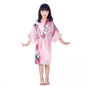 Enfants Filles Kimono Satin Peignoir Peacock Peignoir de Nuit pour Spa Party De Mariage Anniversaire de la marque Hibote image 0 produit