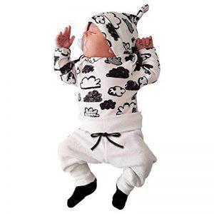 ensemble bebe garcon hiver vetement bébé garçon naissance printemps pas cher manteau garçon pyjama enfant fille manche longue blouse haut top t shirt + pantalons + bonnet de la marque FRYS image 0 produit