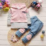 Ensemble Sweat-Shirt Bébé Fille, T-Shirt Rayures avec Capuchon Noël Vêtements de la marque Mounter image 2 produit