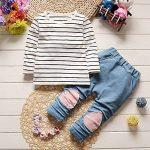 Ensemble Sweat-Shirt Bébé Fille, T-Shirt Rayures avec Capuchon Noël Vêtements de la marque Mounter image 3 produit