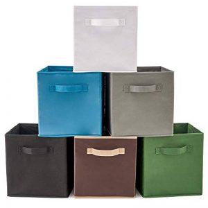 EZOWare Boîtes de Rangement Ouvertes en Textile Non-Tissé, Tiroir en Tissu, Pack de 6, pour Linge, Jouets, Vêtement, Disques DVD etc. (Couleur Assortie) de la marque EZOWare image 0 produit