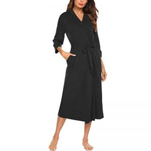 Femme Kimono Coton Peignoir de Bain Robe de Chambre Longue Vêtement Pyjama Manche 3/4 Ceinture Poche de la marque Watopi image 0 produit