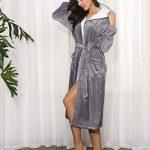 Femme Peignoir Polaire à Capuche avec 2 Poches Hiver Peignoir de Bain Flanelle Robe de Nuit Flanelle de la marque Aibrou image 3 produit