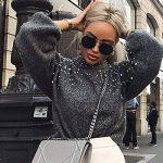 Femme Pull Pas Cher A La Mode Casual Doux Tricoté Sexy Tops Col Rond DéCoration De Perles Pullover Sweaters Blouse de la marque Susenstone image 1 produit