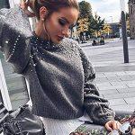 Femme Pull Pas Cher A La Mode Casual Doux Tricoté Sexy Tops Col Rond DéCoration De Perles Pullover Sweaters Blouse de la marque Susenstone image 2 produit