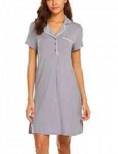 Femme Pyjama Satin Manche 3/4 Chemise de Nuit Robe de Nuit Décontracté S-XXL de la marque MAXMODA image 0 produit