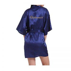 Femmes Kimono vêtements de Nuit Mariée Robes de Chambre Kimonos Longue Estampage à Chaud Satin Rayonne Peignoir Chemise de Nuit de la marque Morbuy image 0 produit