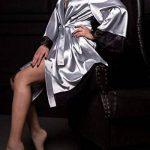 Femmes Peignoir en Soie Bud Col en V Manches Longues Robe de Nuit en Dentelle de Satin Vêtements de Nuit Doux de la marque hnjtjh6u5 image 2 produit
