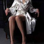 Femmes Peignoir en Soie Bud Col en V Manches Longues Robe de Nuit en Dentelle de Satin Vêtements de Nuit Doux de la marque hnjtjh6u5 image 3 produit
