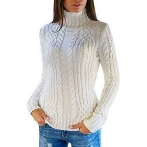 Femmes Pulls Pas Cher A La Mode T-Shirt Pullover Solide Couleur Unie Sweater Chandail Manches Longues Col Roulé Tops Chemise Slim de la marque Susenstone image 0 produit