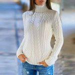 Femmes Pulls Pas Cher A La Mode T-Shirt Pullover Solide Couleur Unie Sweater Chandail Manches Longues Col Roulé Tops Chemise Slim de la marque Susenstone image 1 produit