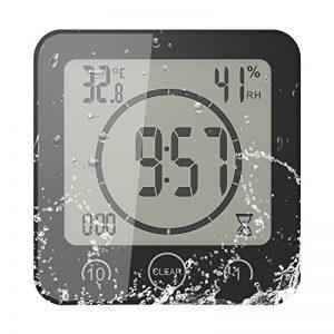 FORNORM Horloge de Salle de Bain, Alarme Numérique LCD Avec Horloge de Douche Tactile étanche, Humidité de la Température, Compte à Rebours, 3 Méthodes de Montage, Alimentation par Batterie de la marque FORNORM image 0 produit