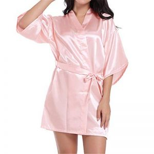 GODGETS Peignoir Satin Robe de Chambre Kimono Femme Sortie de Bain Nuisette Déshabillé Vêtements de Nuit Satin Lingerie Peignoir Robes de Mariée de la marque GODGETS image 0 produit