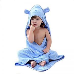 Golden Rule Premium Gant de toilette Serviette de bébé à capuche Super épais et doux et absorbant Serviettes de bain de bambou pour nouveau-né fille ou garçon et enfants (bleu) de la marque YMHPRIDE image 0 produit