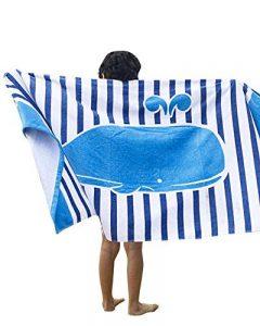 GUOCU Enfants Serviette de Bain de Plage Poncho - Garçons Filles Sortie de Bain Adultes Natation Ponchos Hommes Femmes Animaux Peignoir 100% Coton Peignoir de Bain ,Baleine Bleue,160 * 80cm de la marque GUOCU image 0 produit