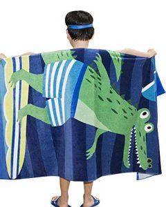 GUOCU Enfants Serviette de Bain de Plage Poncho - Garçons Filles Sortie de Bain Adultes Natation Ponchos Hommes Femmes Animaux Peignoir 100% Coton Peignoir de Bain ,Crocodile,160 * 80cm de la marque GUOCU image 0 produit