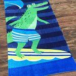 GUOCU Enfants Serviette de Bain de Plage Poncho - Garçons Filles Sortie de Bain Adultes Natation Ponchos Hommes Femmes Animaux Peignoir 100% Coton Peignoir de Bain ,Crocodile,160 * 80cm de la marque GUOCU image 1 produit