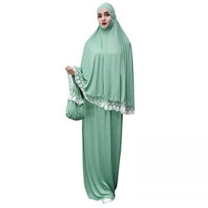 Hijab Femme Musulmane,Femmes Front Dentelle Arabe Traditionnel Musulman Robe Nationale Peignoir Abaya Islamique Musulman Milieu Est Longue Robe de la marque SamMoSon-Musulmane image 0 produit
