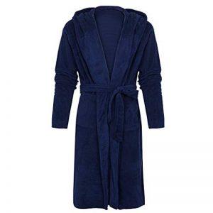Homme Peignoir de Bain, Robe de Chambre Kimono Tissage Vêtements avec Capuche Poches de Nuit Col V Pyajama S-5XL de la marque OSYARD image 0 produit