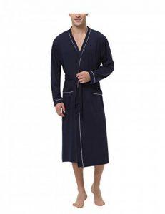 Hommes Peignoirs de Bain en Tricot 100% Coton Casual l'hôtel Spa Sauna Vêtements de Nuit avec 2 Poches Manches Longues de la marque Sykooria image 0 produit