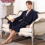 Hommes Peignoirs de Bain en Tricot 100% Coton Casual l'hôtel Spa Sauna Vêtements de Nuit avec 2 Poches Manches Longues de la marque Sykooria image 4 produit