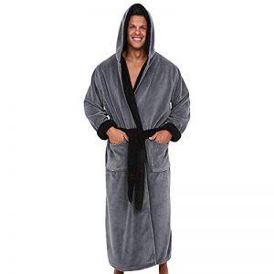 ☯ Hommes Peignoirs de Bain Longues de vêtements de Peluche Robes de Chambre Pyjama Grande Taille À Capuche Poche de la marque iYmitz image 0 produit