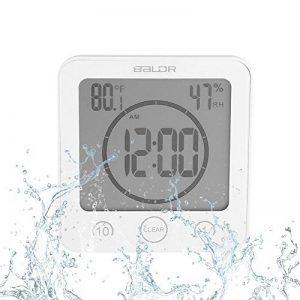 Horloge de salle de bain Horloge étanche Douche Écran LCD numérique Thermomètre Hygromètre Minuterie Horloge murale multifonction pour Cuisine Salle de bain(White) de la marque Yosoo image 0 produit