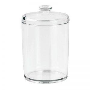 iDesign boîte de rangement pour salle de bain, petit rangement salle de bain en plastique avec couvercle, boîte rangement pour cotons ou cosmétiques, transparent de la marque iDesign image 0 produit