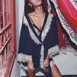 iYmitz ♛ Femmes Sexy Soie Robes de Chambre et Kimonos Nuisette Dentelle Lingerie Peignoirs de Bain Vêtements De Nuit Body Chemise de Nuit Pyjama 3PC Ensemble de Lingeries de la marque iYmitz image 1 produit