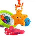 Jouet de bain, pêche flotant jouets et soucoupe d'eau avec sac d'organisation (Pack 8), Poisson filet jeu dans baignoire salle de bain piscine heure du bain pour enfants bambins bébé garcon fille de la marque YeoNational Toys image 3 produit