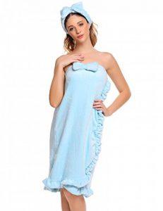 Keland Femme Peignoir Duveteux Mignon Ultra Doux Robe de Bain Serviette avec Bandeau Cheveux à Nœud Papillon de la marque Keland image 0 produit