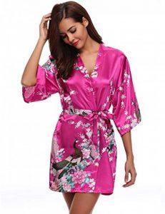 Kimono Femme Robe de Nuit Peignoir Satin Fleurs Paon vêtements Chemise de Nuit Cadeau pour la fête Mariage de la marque Aibrou image 0 produit