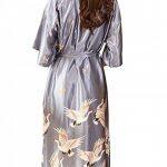 Kimono Femme Sexy Oiseau Modèle Soie Artificielle Luxueux Peignoir Femme Satin Cardigan Robe Elégant Chemise de Nuit de la marque Morbuy image 1 produit