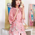 Kimono Japonais en Satin Femmes Robe de Chambre avec Ceinture Longue Imprimé Chemise de Nuit Sexy 1/2 Manches Peignoir Mariée Demoiselle d'honneur de la marque Minetom image 3 produit