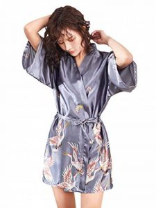Kimono Japonais en Satin Femmes Robe de Chambre avec Ceinture Longue Imprimé Chemise de Nuit Sexy 1/2 Manches Peignoir Mariée Demoiselle d'honneur de la marque Minetom image 0 produit