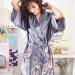 Kimono Japonais en Satin Femmes Robe de Chambre avec Ceinture Longue Imprimé Chemise de Nuit Sexy 1/2 Manches Peignoir Mariée Demoiselle d'honneur de la marque Minetom image 2 produit