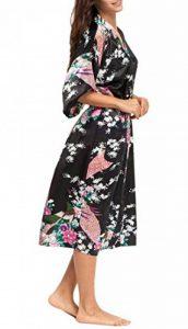 Kimono Robe de Chambre Longue Imprimé - Chemise de Nuit Soie Artificielle Paon Fleur - Beaucoup de Couleurs de la marque FEOYA image 0 produit