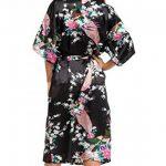 Kimono Robe de Chambre Longue Imprimé - Chemise de Nuit Soie Artificielle Paon Fleur - Beaucoup de Couleurs de la marque FEOYA image 1 produit